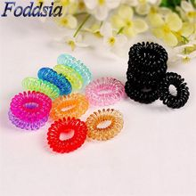 Foddsia 20pcs Transparent Color Telephone Line Gum Elastic Hair Bands For Girl Rope Tie Hair Accessory Maker Tools Key Ring R1