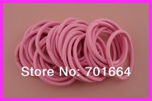 50PCS 16.0cm circle 4mm hot Pink Elastic Ponytail Holders hair bands with gluing connection,elastic hair ties(China)