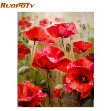 RUOPOTY Red Flower Abstract DIY Painting By Numbers Kits Modern Wall Art Picture Handpainted Oil Painting For Room Artwork 40X50
