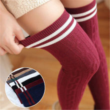 Women Knit Cotton Over The Knee Long Striped Thigh High Socks New