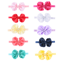 2016 Kids Girls Satin Flower Big Bow Hairband Elastic Headband Stretch Turban Knot Head Wrap Floral Hair Band Accessories