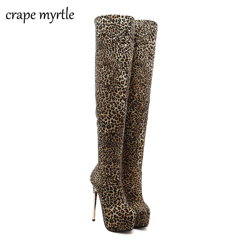 women party shoes over the Knee winter Boots Sexy fur boots Women High Heel Shoes leopard Dress shoes long high boots YMA81<br>