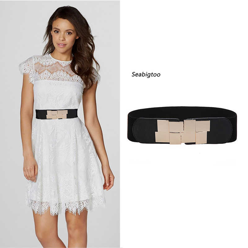 09c445c232 Seabigtoo Elastic belts for women luxury Waist band Wide Stretch Elastic  Wide Belts female Dress Metal