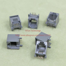 (100pcs/lot) RJ11 6P6C Gray Black Modular Jack Network Telephone Socket 6 Pin 90 Degree Needle Welded Type