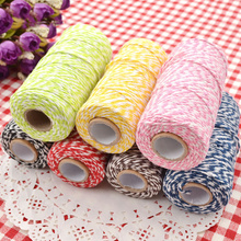 1 Roll 100 Metres 2Ply Cotton Bakers Twine String Cord Rope Rustic Country Craft 7 Colors