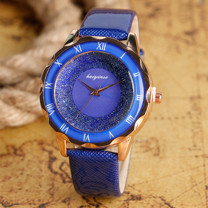 Simple Blooming Glitter Dial Royal Blue Ladies Fashion Wrist Watch Leather Band Women Dress Business Strap Casual Modern Gift<br><br>Aliexpress