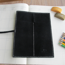 100% Genuine Leather Nubuck Pencil Case Vintage Retro Pencil Bag Pen Curtain School Office   Stationery