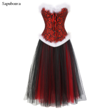 Sapubonva Christmas womans corsets for dresses costumes halloween black and red mesh long skirt bustier corset gowns plus size(China)