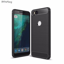 BYHeYang For Google Pixel 2 Case 5.0inch Carbon Fiber Texture Brushed Soft Silicone TPU Back Cover For Google Pixel 2 Phone Case
