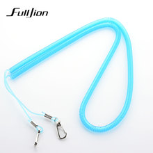 Fulljion 10m Fishing Retention Ropes Spring Type Fishing Lanyards Boating Ropes with Camping Carabiner Secure Lock Fishing Tools
