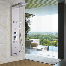 Wall Mounted Bathroom Shower Panel Waterfall Rainfall Shower Massage System Brushed Nickel with Hand Shower