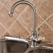 Kitchen faucet,Nickel finished sink mixer bar water tap.360 degree roating long neck water tap.Hot&Cold kitchen faucet XK-020