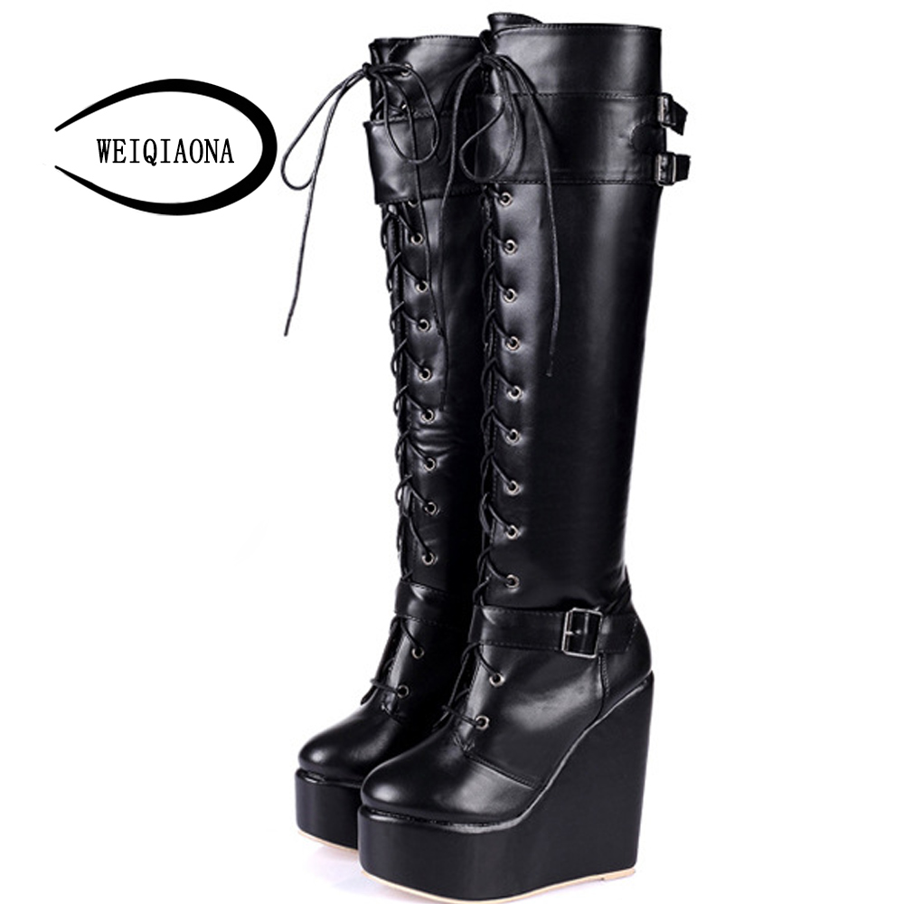 WEIQIAONA Autumn and winter new lace-up women boots nightclub sexy girl fashion Wedge high heel boots with buckle knee boots<br>