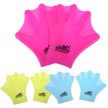 1Pair Swimming Webbed Gloves Adult Swimming Finger Fin Hand Paddle Wear Silicon Swimming Fins 3Colors EA14(China)