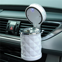 Luxury Portable LED Light Car Ashtray Universal Cigarette Cylinder Holder Car Styling Mini Vehicle Trash Litter Collecting Pot(China)