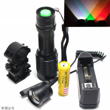 Zoom green/red 1 Mode Hunting led Flashlight LED Working Lamp Torch +18650 battery Charger+Gun mount+Remote Switch+ box(China)