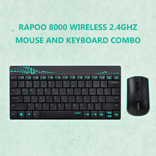Rapoo 8000 Wireless Keyboard Mouse 2.4GHz Multimedia Optical Mouse and Keyboard Combo with Media Hot Keys Full-size Keyboard(China)
