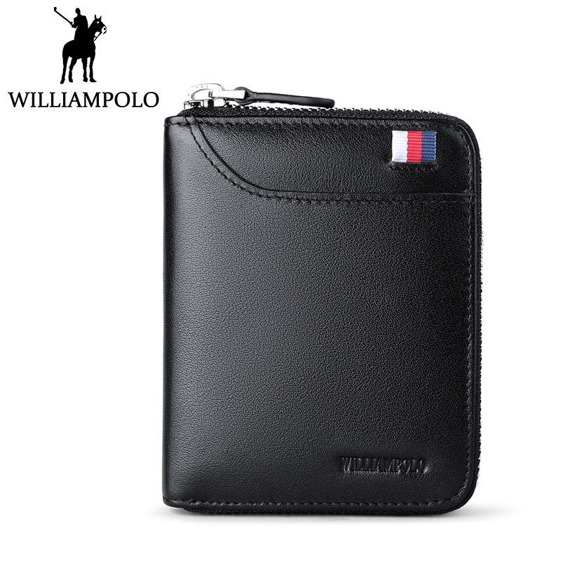WILLIAMPOLO Genuine Leather Mens Purse Slim Wallet Mini Wallet Male Gift 2018 Designer Fashion Zipper Pouch Small Wallet Blue<br>