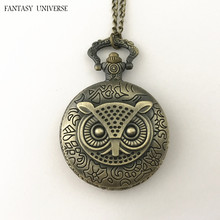 FANTASY UNIVERSE Freeshipping a lot 20PCS Messenger owls pocket watch NECKLACE Dia4.7CM RTTEWRM01