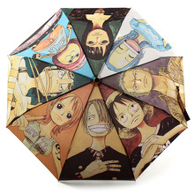 Creative Anime ONE PIECE Umbrella 2016 New Fashion Anime Cartoon Umbrellas Monkey D Luffy Voyagers Journey Automatic Umbrella