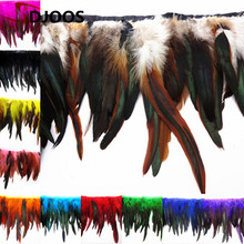 "10M *5-7"" Natural Rooster Feathers Trim Colorful Bulk Feathers For Sale Centerpieces Wedding Decoration Fringing Wholesale(China)"