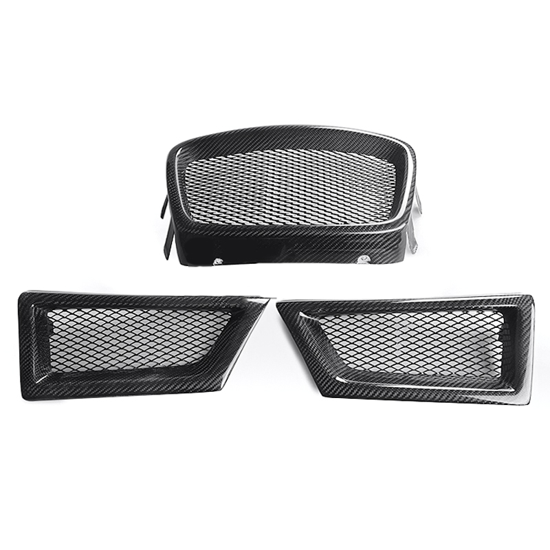 NEW 3PCS/SET Carbon Fiber Front Mesh Grille For Subaru Impreza WRX STi 9th 2006-2007 Car-styling