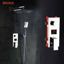 BAKALA Bathroom LED Shower Set.2 Functions LED Digital Display Shower Mixer.Concealed Shower Faucet.8 Inch Rainfall Shower Head(China)