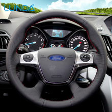 LUNDA  Hot Sell Black DIY Leather Car Steering Wheel Cover custom for Ford Focus 3 2012-2014 KUGA Escape 2013-2016