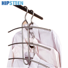 HIPSTEEN Multifunctional Hangers For Clothes Fishbone Shape Stainless Steel Cloth Hanger Scarf /Ties/Belts Organizer - Silver(China)