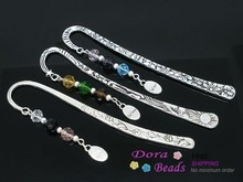 "3 Handmade Charm Metal Crafts Collection Bookmarks W/Crystal ""Believe"" slide pendants 123mm (B06120)(China)"