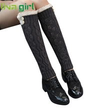 Hot Long Leg warmers for boots Women Ladies Popular Soft Knit Ankle Warmers Crochet Sock Thick Footless Leg Warmers De222