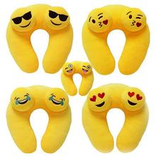 Emoji U Shape Pillows Yellow Soft Emotion Face Cartoon Plane Bus Car Camping Travel Neck Plush Cushion chirstmas toys and gifts