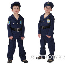 M~XL Super Polices Cosplay Halloween Party Kids Fantasia Disfraces Costumes Boy Children Game Stage Show Blue Uniforms Suit(China)