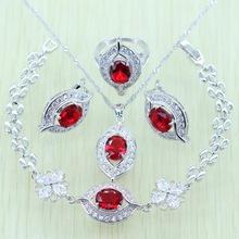 Reginababy Silver color Eye Red created Garnet Jewelry Set For Women Bracelets/Earrings/Ring/Necklace/Pendant Jewelry