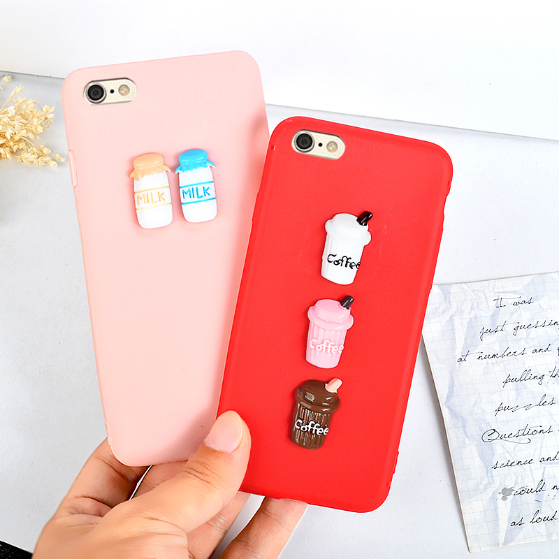 J&RCoffee Cup Case For Iphone XS MAX XR X Cases For Apple IPhone 7 8 6 S Plus 5 5S 3D DIY Sweet Candy Phone Cover Protective