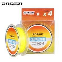 DAGEZI Super Thin 0.06MM 5LB Test Crapple braid Fishing Lines Multifilament PE Braided Fishing Line Rope Yellow Leader Line(China)