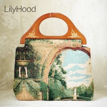 Handmade Women Vintage Landscape Oil Painting Handbag Retro Classical Country Rustic Art Woven Fabric Wooden Top Handle Bag Esty