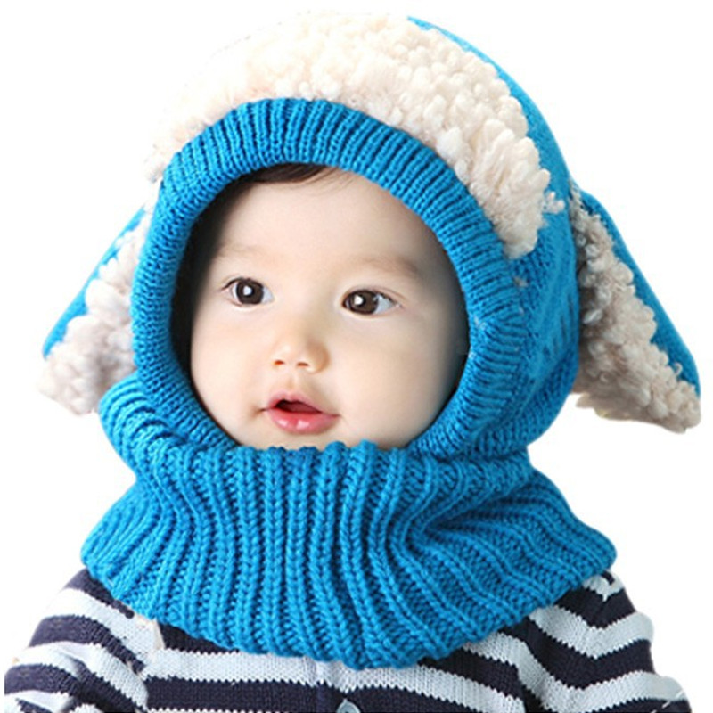 Winter children's collar dog modelling wool soft hat baby cloak  keep warm shawl conjoined hat kids beanies hat scarf sets