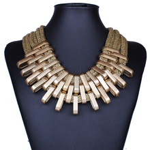 New All-match Wholesale Necklace Collares Multilayer Chain Gold Color Geometric Big Bid Statement Necklace Gros Collier Femme