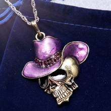 Hot Vintage Women Skull necklace jewely Accessories Sweater Skull Head Necklace Pendant Exquisite Long Necklace Silver Chain men