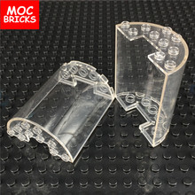 4pcs\lot round wall element 3x6x6 part NO. 87926 clear translucent MOC rebrickable building blocks toys bricks creators kids