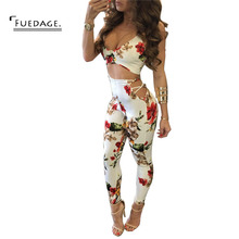 Fuedage Womens 2017 Summer Sexy Spaghetti Strap Ruffles Crop Top 2 Pieces Elegant Jumpsuit Casual Slim Jumpsuit Romper Bodysuit(China)