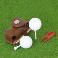 Mini Portable Leather Clip On Golf Ball Holder Pouch Bag Hold 2 Balls Golfer Aid Tool Gift Dark Khaki(China)