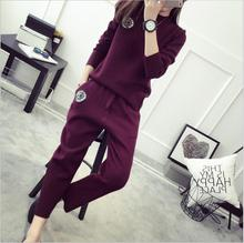 2017 autumn and winter new women's fashion solid Patchwork Colored core yarn knitted two pieces casual O-Neck Nine pants suts
