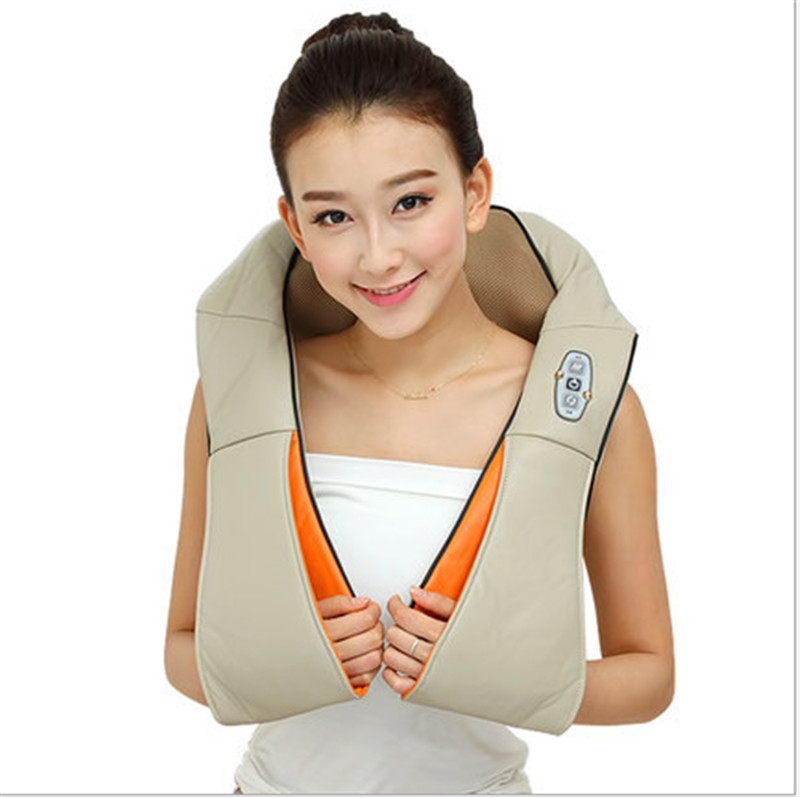 U Shape Electrical Shiatsu Back Neck Shoulder Massager body infrared 3D kneading Pillow massager  plug flat plug<br>