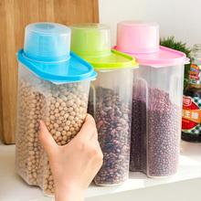 Two Size 2.5L 1.9L Capacity Cereals Food Storage Seaked Tank Cans Dumping of Antibacterial Storage Jars Bottles With Cover K420(China)