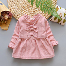 2018 Spring 100 Cotton Baby Girls' Bow Dress Korean Manufacturers Directly Children's Wear Wholesale Toddler Clothes Infants(China)