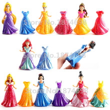 Princess Magiclip Fashion Dolls Set of 7 Snow White Ariel Belle Rapunzel Cinderella Sleeping Beauty Tiana Figure Doll Toy Gift