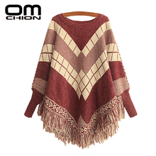 Poncho O-Neck Spell Color Jacquard Tassel Cloak Sweater Women Batwing Pullovers Spell Color Jacquard Fringed Knitwear LMY28(China)