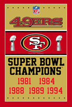 San Francisco 49ers Super Bowl Champions Man Cave Sports Banner Basketball Flag 3' x 5' Custom Hockey Baseball Football Flag